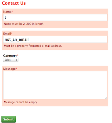 CakePHP Contact Form View with Errors