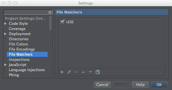 Configuring a File Watcher using PhpStorm 6.0