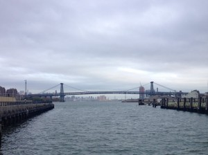 View of the Williamsburg Bridge from the Duggal Navy Yard, Brooklyn.