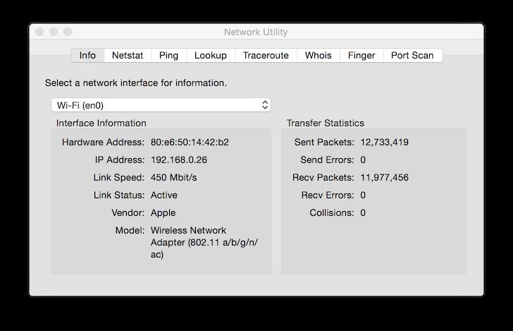Network Utility - OS X Yosemite