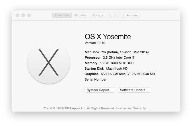 Mac OS X Yosemite - About This Mac