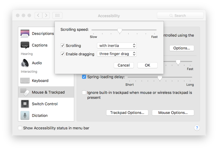 how to set up three finger drag osx sierra